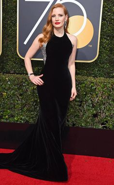 Jessica Chastain from 2018 Golden Globes Red Carpet Fashion  In Armani Privé