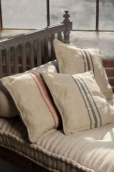 Natural Linen Pillow covers With Woven Triple Stripe. Self Welt, Zipper Closure. Dimensions: x Ah love linen French Decor, French Country Decorating, Traditional Pillows, Grain Sack, Linens And Lace, French Country Style, Linen Pillows, Bed Linen, Natural Linen