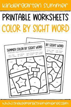 These Color by Sight Word Summer Kindergarten Worksheets are a great way to practice early reading and writing skills with your kindergartners. Get yours today! #colorbycode #summer #kindergartenworksheets Sensory Activities Toddlers, Kids Learning Activities, Preschool Themes, Learning Time, Literacy Skills, Writing Skills, Early Reading, Close Reading, Guided Reading