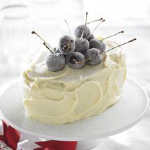 White Chocolate Cake with Sugared Cherries