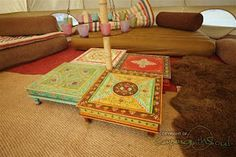floor sitting tables for inside tent (great for gaming or crafting out of unfavorable weather)