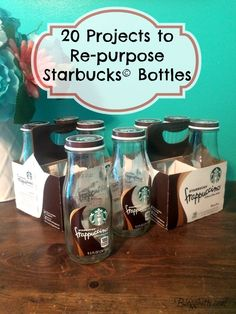 20 Projects to Re-purpose Starbucks Bottles bottle crafts diy 20 Projects to Re-purpose Starbucks Bottles Starbucks Glass Bottle Crafts, Starbucks Frappuccino Bottles, Starbucks Crafts, Café Starbucks, Wine Bottle Crafts, Empty Glass Bottles, Recycled Glass Bottles, Bottles And Jars, Mason Jars