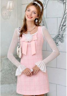 Lovely Slim Square Collar Bowknot&Grid Dress