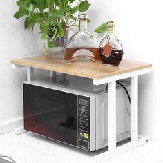 Kitchen counter decor Diy kitchen storage Microwave oven Kitchen shelves Microwave in k Diy Kitchen Storage, Kitchen Shelves, Kitchen Items, New Kitchen, Kitchen Cabinets, Kitchen Organization, Kitchen Modern, Kitchen Shelf Organizer, Kitchen Counters