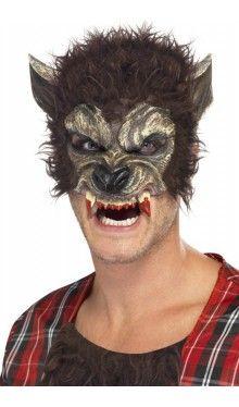 Werwolf Halb-Gesichtsmaske mit Kunstfell