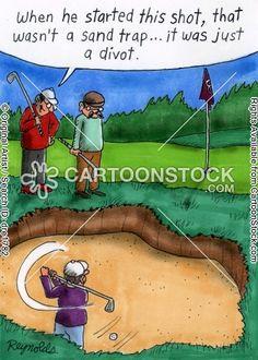 From divot to full blown sand trap. #golfcartoon #golfcomics #golfbunker