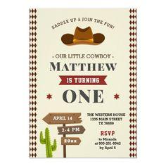Cowboy Western Saloon 1st Baby Boy Wild Birthday Invitation Cowboy First Birthday, Baby Boy 1st Birthday, Boy Birthday Parties, Birthday Celebration, Birthday Ideas, Birthday Cards, Western Saloon, Western Cowboy, Cowboy Invitations