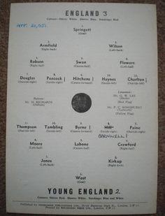 Inghilterra V giovane ENGLAND 1961 1962 CALCIO programma a Arsenal FC-Highbury in Sports Memorabilia, Football Programmes, International Fixtures, Other International Fixtures   eBay