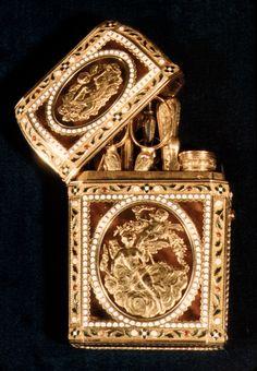 Nécessaire  Date: 18th century (?) Culture: French (Paris) Medium: Gold, enamel, tortoise shell, brilliants