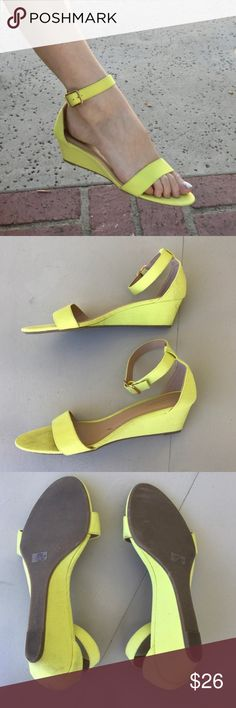 """Yellow low WEDGE SANDAL STRAPPY Sz 9 faux suede So pretty! Fresh Lemon Yellow low WEDGE SANDAL Sz 9, faux suede. So comfortable so flattering on the feet and legs! Can DRESS up or down. Get the style without the high heel! 1.75"""" height. (N19) Old Navy Shoes Sandals"""