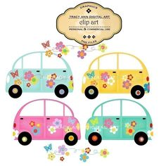 CLIP ART - Hippy cars  for commercial and personal use.