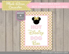 INSTANT DOWNLOAD Pink & Gold Glitter Minnie Inspired 8x10Hot Diggity Dog Bar Sign / Printable / Minnie Glitter Collection / Item #1204 by DivinePartyDesign on Etsy