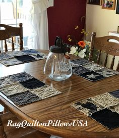 Quilted Placemats, Country Placemats, Set 4, Western Decor, Placemats  Handmade, Rustic Placemats, Placemats, Black Tan, Flag, Patriotic