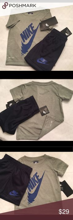"🌟Brand New🌟NIKE Dri-Fit Shirt & Athletic Shorts BRAND NWT! Nike Shirt with Dr-Fit technology. Gray with Blue Classic ""Swoosh"". Athletic shorts in Navy with matching Blue Nike print! 2T Nike Other"