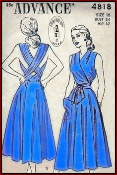 Advance 4818-1948 Vintage Sewing Patterns Advance 1940s Dresses Wrap Dresses Sleeveless Tucks Criss-Cross Straps Back Button Patch Pockets Flared Skirts Surplice V Neckline