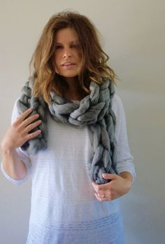 Chunky knit scarves for dayssss! Chunky Knit Scarves, Chunky Wool, Autumn Fashion, Dressing, Knitting, Coat, Style, Products, Fall Fashion