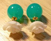 White Rose/Green Beads Double sided earrings, Tribal Glass Ball classic , Dior style, colorful $7.50