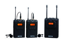 BY-WM8 Dual Channel UHF Wireless Microphone System The BOYA BY-WM8 Dual-Channel UHF wireless system is a portable, camera-mountable wireless system for capturing audio with dual subjects. It can be used in several environments for video, field recording, interview, broadcast TV, and ENG applications. Fuji Camera, Camera Nikon, Photo Accessories, Walkie Talkie, Camcorder, Channel, Steamer, Interview, Audio