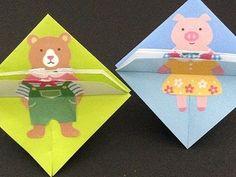 折り紙 遊べるおもちゃの作り方 かわいい子どもの簡単めくり絵 - YouTube