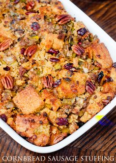 Recipe for gluten-free sausage stuffing with pecans, leeks, and dried cranberries.