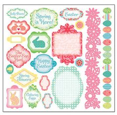 COTTON TAIL 12x12 Sticker Sheet scrapbooking EASTER Spring 99 CENT SALE!