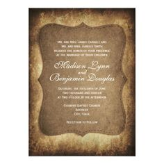 Rustic Country Vintage Paper Wedding Invitations with an antique distressed brown design. Rustic Wedding Invitations.  Country Wedding Invitations.