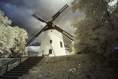 Wind mill in Podersdorf, Burgenland, Austria, infra-red colour Red Colour, Windmill, Abandoned, Remote, Around The Worlds, Stock Photos, Country, Places, Travel