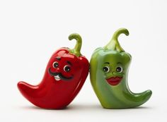 Hot Chili Peppers Magnetic Salt & Pepper Shakers S/P.