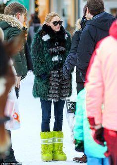 Green fur & lime green boots.