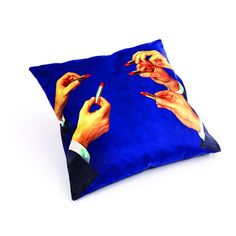 Seletti Cushions At Cheap Price With Lipstick Volcano Kitten Teeth and Snakes flowers Armchair in Velvet Material by Seletti Wears Toiletpaper at Smithers of Stamford Dealer Store Uk Seller velvet cushion Velvet Furniture Velvet Furniture, Furniture Care, Blue Lipstick, Red Lipsticks, Wedding Gifts For Men, Retro Images, Blue Cushions, Dark Blue Background, Velvet Material