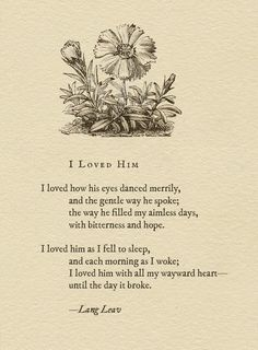 I Loved Him - Lang Leav