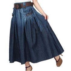 Denim All-match Loose Casual Long Skirt, Elastic Waist With Belt