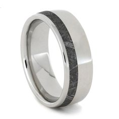 Elegant Polished Platinum Gibeon Meteorite Inlay Wedding Band , Perfect Jewelry Gift for Him