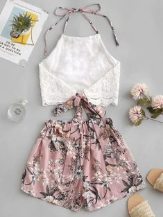 Lace Panel Floral Wide Leg Two Pieces Suit Cute Casual Outfits, Girly Outfits, Cute Summer Outfits, Outfits For Teens, Pretty Outfits, Stylish Outfits, Clothes For Tweens, High School Outfits, Girls Fashion Clothes