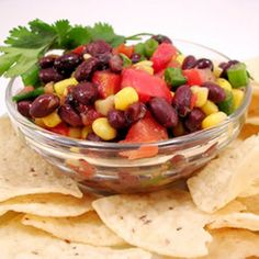 Black Bean Salsa Recipe Lunch and Snacks, Appetizers, Condiments and Sauces with black beans, mexicorn, diced tomatoes, tomatoes, green onions, coriander leaf