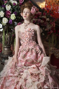 Bridal Pink - pink wedding dress; floral embellishment; chiffon ruffles, beading and embroidery