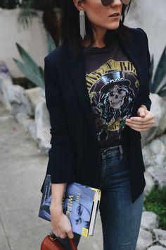 Love the tshirt, blazer and chandelier earrings!You can find Rock style and more on our website.Love the tshirt, blazer and chandelier earrings! Rock Outfits, Edgy Outfits, Cute Outfits, Fashion Outfits, Womens Fashion, Fashion Trends, Blazer Fashion, Band Shirt Outfits, Dress Outfits