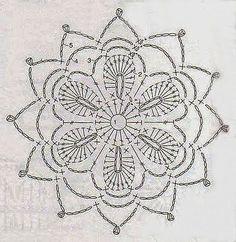 Anabelia craft design: Crochet doilies and lace motifs - motif 3 Crochet Snowflake Pattern, Crochet Motif Patterns, Crochet Snowflakes, Crochet Diagram, Crochet Chart, Crochet Squares, Thread Crochet, Crochet Doilies, Crochet Flowers