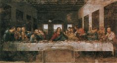 Leonardo da Vinci. The Last Supper. Mural painting in Milan created for his patron Duke Ludovico Sforza and his duchess Beatrice d'Este. This painting marks the transition from early to high renaissance. 1498.