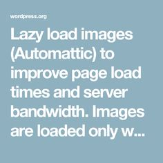 Lazy load images (Automattic) to improve page load times and server bandwidth. Images are loaded only when visible to the user.