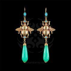 Askew London Chalcedony & Turquoise Winged Bee Earrings (ASK175) | Alexandra May Jewellery
