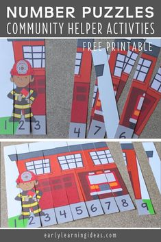 Use these free fire truck printables to teach number recognition and number order. Both fire truck number puzzles will be great addition to your preschool fire safety or community helper units. Preschool Learning Activities, Preschool Activities, Fire Truck Activities, Number Activities, Preschool Worksheets, Fire Safety Week, Fire Safety For Kids, School Safety, School Staff