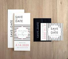 Modern Lace - black, white and pink save the dates are seriously chic! #modernwedding #modernsavethedates #mybeaconlane #beaconlane #pink #black #ivory #wedding