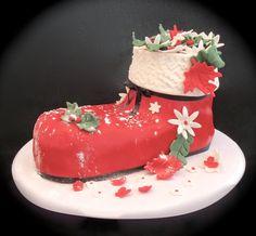 Santa Christmas Boot Cake