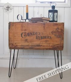 Antique Railroad Boot Container Turned Into Side Table with Hairpin Legs via Prodigal Pieces