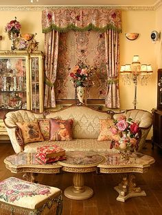 Ornate & English Decor #sitting room #english #decor #ornate #bronate #floral #gold #pink #sofa