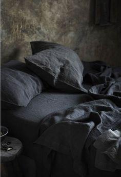 Gray linen sheets.