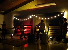 Simple small stage idea. Pallets and lights