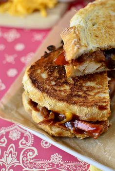 Monterey Chicken Grilled Cheese- white chicken, bacon, BBQ sauce, and cheddar cheese grilled up on crusty, hearty Italian bread.