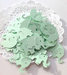 40 MINT GREEN baby elephant, die cut punches,confetti, baby shower, scrapbooking